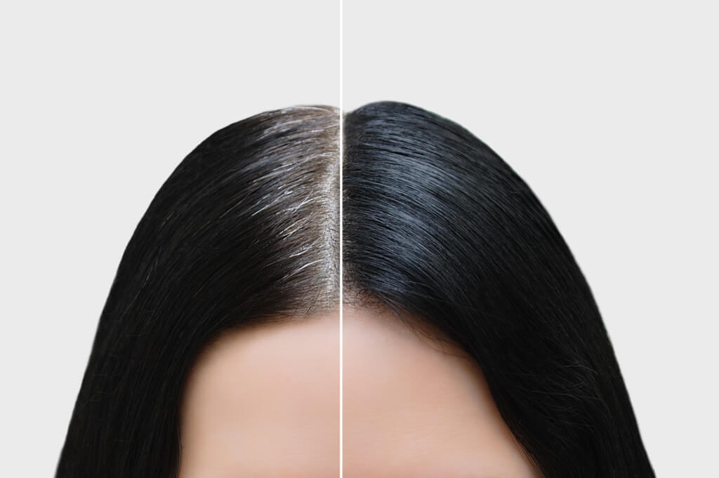 tupet damski czarny przed i po